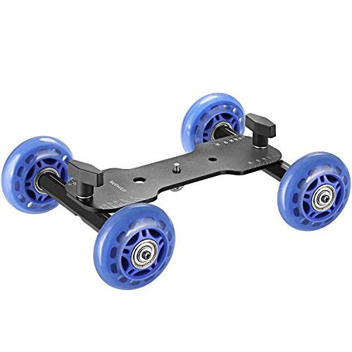 Neewer Mobile Rolling Slider Dolly Car Skater Video Track Rail Stabilizer with 1/4 and 3/8 inch Thread 66 pounds/30 kilograms Load Capacity for Speedlite DSLR Cameras Video Camcorders(Blue) by Neewer