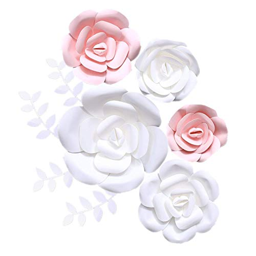 (Fonder Mols 3D Paper Flowers Decorations (Pink White, Set of 5) Giant Wedding Flowers Centerpieces, Birthday Backdrop, Nursery Wall Decor, Photobooth (NO DIY))