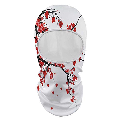 (YOLIYANA Floral Durable Face Gini,Japanese Cherry Blossom Sakura Blooms Branch Spring Inspirations Print Decorative for Outdoor,8.6