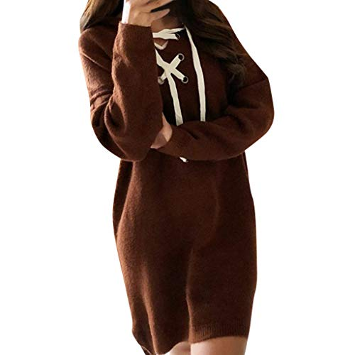 AIMTOPPY Women's Solid Color Pullover Slim Long Sleeve Hooded Drawstring Collar Dress
