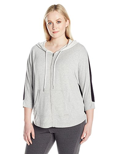 Calvin Klein Performance Women's Plus Size Zip Front Dolman Sleeve Colorblock Hoodie, Pearl Grey Heather, 1X