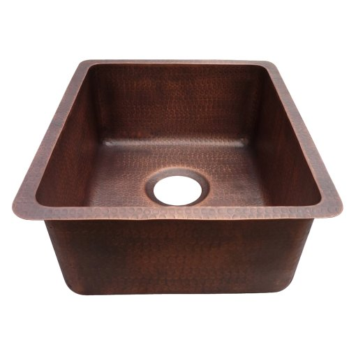 Yosemite Home Decor CSS1655-H 16-Gauge Hammered Single Bowl Undermount Bar Sink, 18-1/2-by-15-by-7-Inch, Solid Copper ()