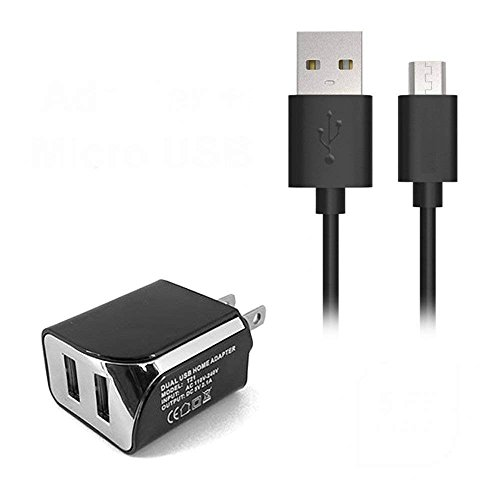 2in1 Wall/Travel/Home Charger Dual Port USB + 5FT Micro Usb Cable for Virgin Mobile ZTE Supreme n8910, Quest N817, Awe N800 2in1 (E2B) (Virgin Mobile Zte N800)