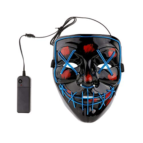 iEFiEL Adults EL Wire Glow LED Light up Mask Scary Accessory Halloween Cosplay Festival Parties (Steady/Slow/Fast Flash) Blue One Size