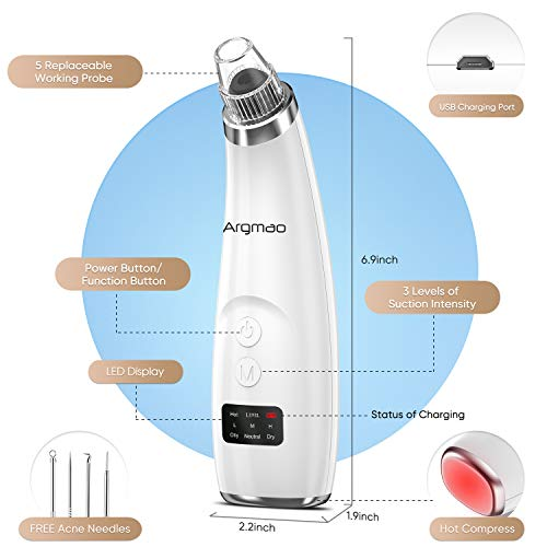 Argmao Blackhead Remover Pore Vacuum with 5 Suction Probes, Fast USB Rechargeable Black Head Face Nose Acne Derma sucker cleaner with LED Display for Facial Skin (Comedones Extractor Tool Include)