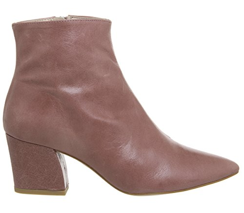 Leather Ankle Heel Aubergine Office Curved Boots Pink 8q0xHwS