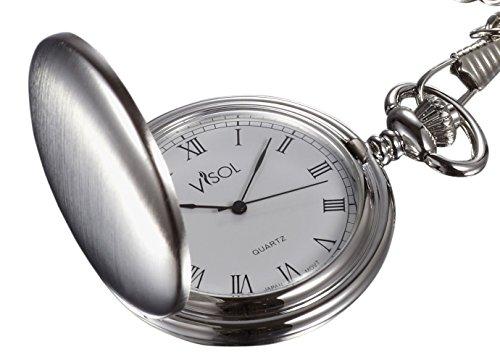 Visol Scipio Brushed Chrome Quartz Pocket Watch Solid Pocket Watch