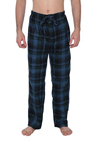 Active Club Fleece Lounge Plaid Pajama Pants For Men - Adjustable -