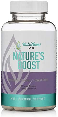 Nature s Boost – Vegan Testosterone Booster and Stress Relief Supplement for Improved Stamina, Performance, and Anxiety with Clinically Proven LJ00 and KSM-66 Ashwagandha – 60 Veggie Capsules