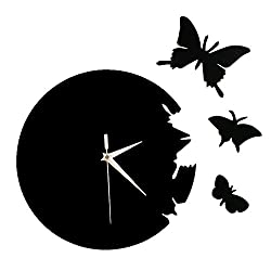 Happy Hours - 3D Acrylic Butterfly Quartz Wall Clock/Creative Wall Stickers Hanging Watch/Living Room Dial Digital Home Decoration(Black,Size L)