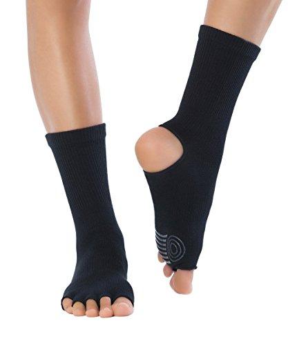 Knitido Yoga Flow | Zehensocken für Yoga, Pilates und Tanz mit offenen Zehen und ABS anti-rutsch Beschichtung, aus Baumwolle (83%), für Damen und Herren, jetzt in drei neuen Farben, Größe:35-38;Farbe:Obsidian