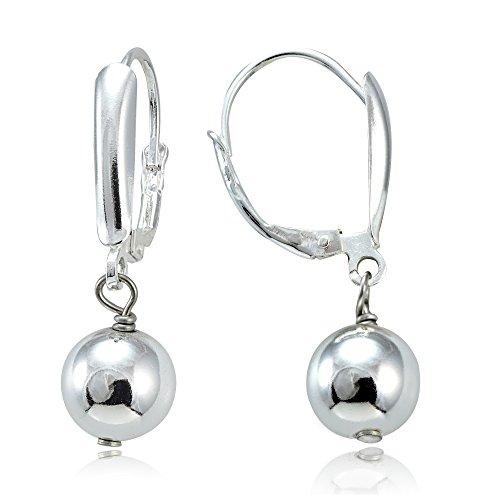 Hoops & Loops Sterling Silver Dangling 8mm Bead Earrings, 3 Metal Options (Metal Bead Earrings)