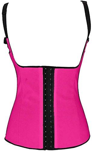Spring Fever Women's Baldric Steel Boned Latex Lace Underbust Waist Corset(3XL, Rose Red)