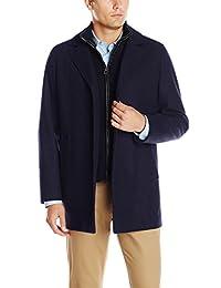 Cole Haan Men's Classic Melton Topper Coat with Faux-Leather Details