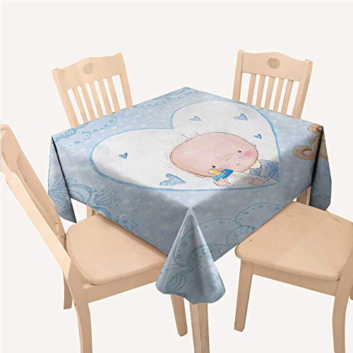 Reveal Christmas Tablecloth Little Baby Boy and Teddy Bear Toy Heart Shaped Cute DesignPale Blue and Sand Brown Small Square Tablecloth W36 xL36 inch ()