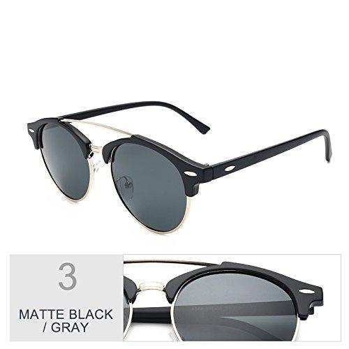 bastidor redondo de Plata Guía hombres Black de para Sunglasses Gafas polarizadas sol Gafas sol TL Negro Senza Semi de bastidor mujeres Matte Gray gafas hombres P8zqx