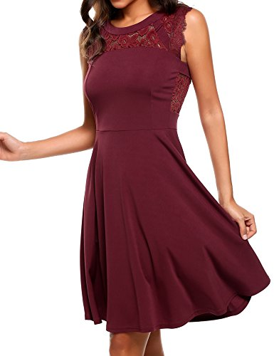 Beyove Women's A-Line Sleeveless Pleated Lace Cocktail Party Dress Wine Red XL