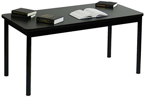 Correll LR3072-07 Office and Library 29'' High , 1 1/4'' Thick High-Pressure Laminate Top, 2'' Round Steel Legs, 30'' x 72'', Black Granite Top with Black Frame by Correll