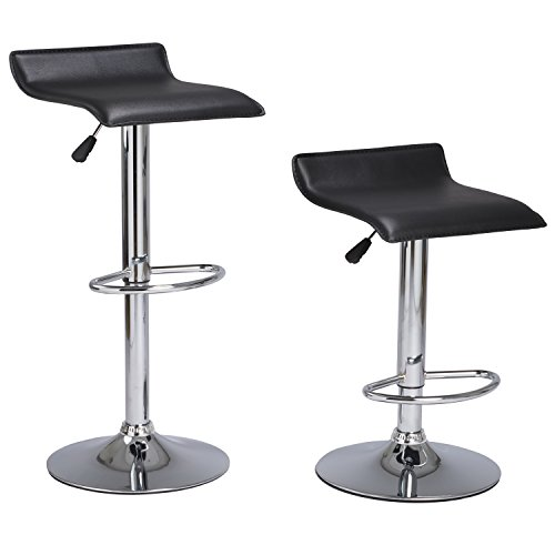 Set of 2 Barstool Coavas Black Modern Adjustable Swivel PU Leather Barstool Kitchen Dining Counter or Living Room Bar Chairs