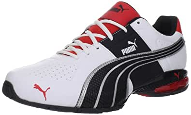 PUMA Men's Cell Surin Cross-Training Shoe,White/Flamescarlet/Black,9 D US