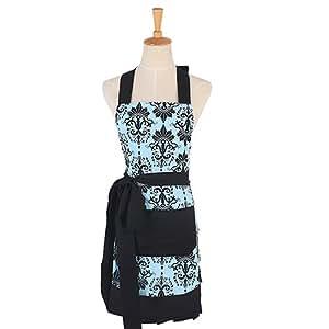 G2Plus bonito delantal de algodón Delantal de cocina de moda de mujer con estampado de flores Apron con bolsillos para cocinar o para hornear