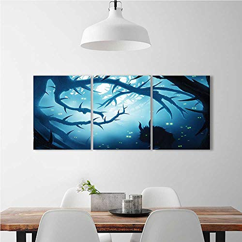 aolankaili Wall Art for Living Room Decor 3 Piece Set Frameless with Burning Eyes in Dark at Night Halloween White for Home Modern Decoration Print Decor W32 x H48 x 3pcs