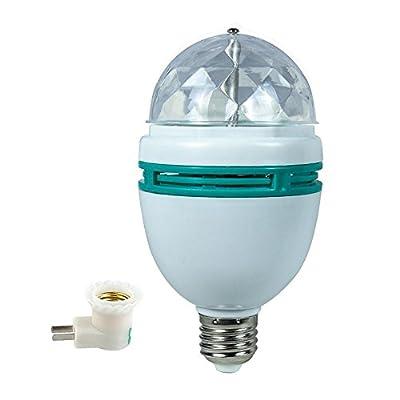 LVL LED Rotating Disco Light Bulb with E27/E26 Screw Base (Multi Changing Color,3W) Party Bulb