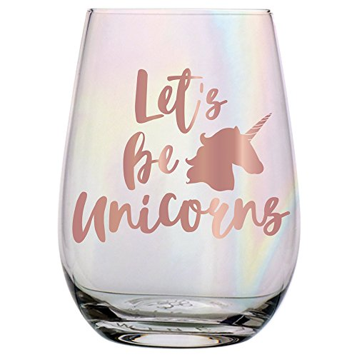 Let's Be Unicorns - 20 oz Stemless Wine Glass with Rose Gold Pink & Luster Coating by SLT (Image #1)