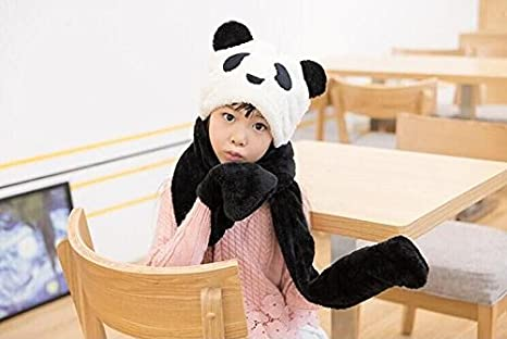 Mitten Combo for Boys and Girls Kids Plush Panda Hat 3 in 1 Beanie With Scarf