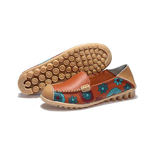 Z.SUO Mujer Mocasines de cuero Moda Loafers Casual Zapatos de conducción Zapatillas Naranja.1