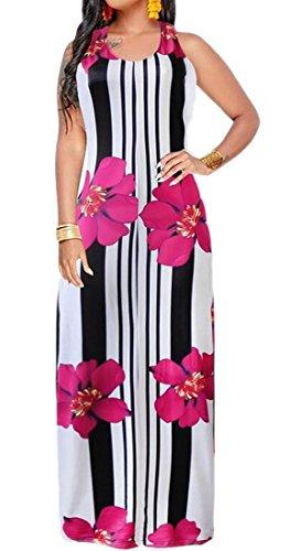 Casual Tunic Sleeveless Dress 1 Floral Beach Maxi ainr Women Summer Print Dress y0wwzx18q