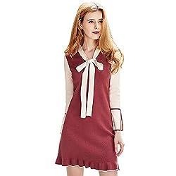 V Neck Lace Up Knitted Patchwork Dress Split Sleeve Women Workwear L