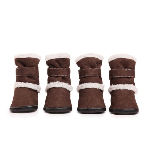 East Collection Side Boots - East Side Collection Faux Suede Classic Sherpa Dog Boot with Rubber Sole, Medium, Chocolate