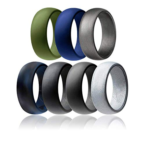 - ROQ Silicone Wedding Ring for Men Affordable Silicone Rubber Band, 7 Pack - Black Blue Camo, Black, Grey, Blue, Silver, Beveled Metalic Platinum, Olive Green - Size 12