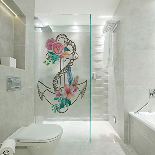 RWNFA Covering Privacy Film Shower Window Cling,Watercolor Spring Blossoms and Feathers on a Doodle Style Anchor Decorative,Suitable for Bathroom,Door,Glass etc,Brown Pale Pink Turquoise
