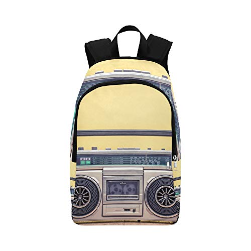 (Old Radio and Headphones On Table Casual Daypack Travel Bag College School Backpack for Mens and)