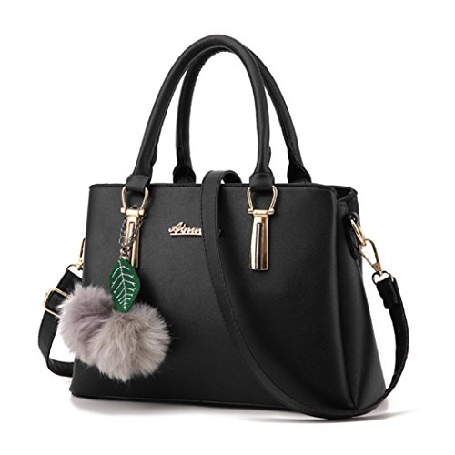For Bags Women Leather Black Artificial Tote Pendant Crossbody Bag Medium Messenger Shoulder Ladies With KONFA Stylish Handbag Purse nwftqCgY
