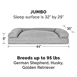 Furhaven Pet Dog Bed | Pillow Cushion Traditional Sofa & Deluxe Therapeutic Rectangular Foam Mattress Pet Bed w/ Removable Cover for Dogs & Cats – Available in Multiple Colors & Styles