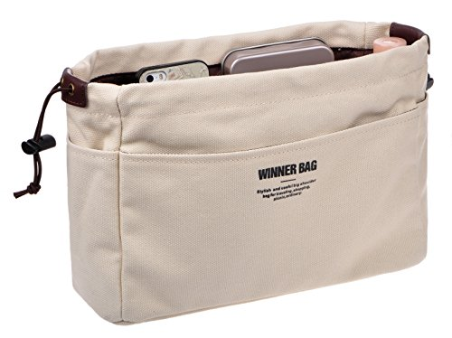 Vercord Canvas Handbag Organizers Sturdy Purse Insert Organizer Bag in Bag 13 Pockets Beige Large