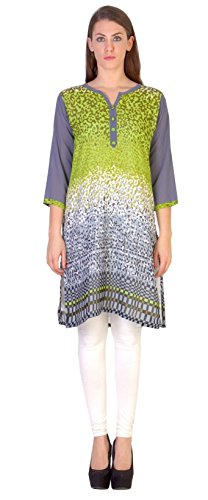 Maple Clothing India Georgette Long Tunic Top Kurti Womens Printed Indian Apparel (Green, S)