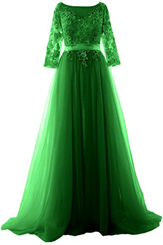 MACloth Women Half Sleeve Lace Tulle Maxi Prom Dress Evening Formal Gown Verde