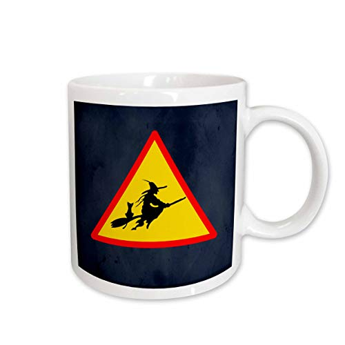 3dRose Sandy Mertens Halloween Designs - Witch Crossing with Black Cat and Broom Warning Sign, 3drsmm - 15oz Mug (mug_290246_2) ()