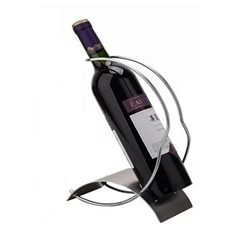 (Stainless Steel Single Bottle Countertop Wine Holder, Free Standing Metal Wine Rack Table Top Wine Bottle Storage Rack Perfect Wine Holder Stand)