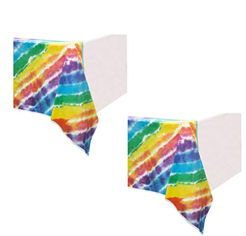 Unique Industries 2 Pack Plastic Birthday Party Tablecover (Tie Dye, 54