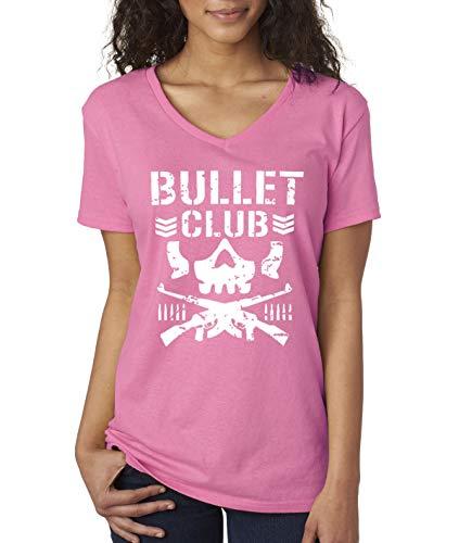 Trendy USA 786 - Women's V-Neck T-Shirt Bullet Club Skull Bone Soldier Japan Pro Wrestling Large Azalea Pink