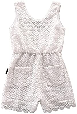 NABER Kids Girls Fashion Floral Embroidery Lace Jumpsuit Rompers 3-13 Y