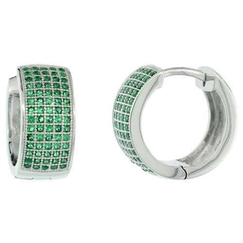 Sterling Silver Micro Pave Cubic Zirconia Huggie Hoop Earring Green Cubic Zirconia by Sabrina Silver