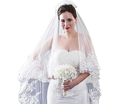 Leekida 2 Tiers Long Cathedral Elegant Floral lace Appllique Wedding Bridal Veils