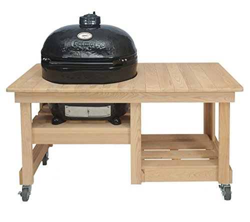 Primo Oval XL 400 Ceramic Smoker Grill On Cypress Counter Top Table by Primo