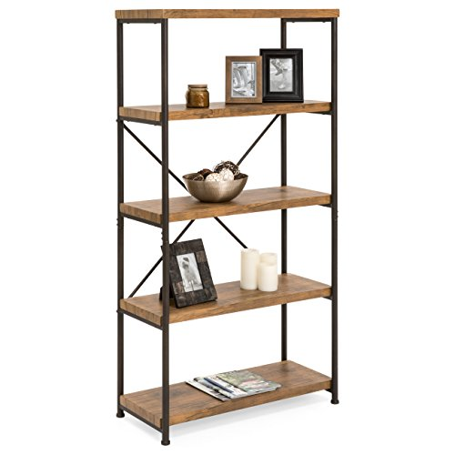 (Best Choice Products 4-Tier Rustic Industrial Bookshelf Display Décor Accent for Living Room, Bedroom, Office w/Metal Frame, Wood Shelves -)